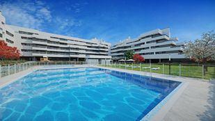 Recreación de cómo será Orellana II, con la piscina como elemento principal de sus zonas comunes.