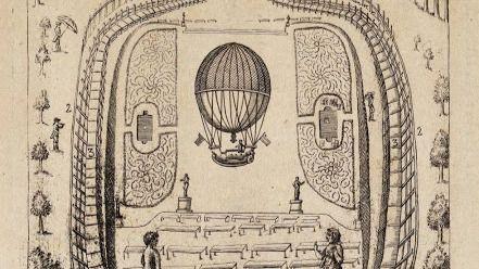 Grabado anónimo de la ascensión en globo del capitán Lunardi en el Retiro.
