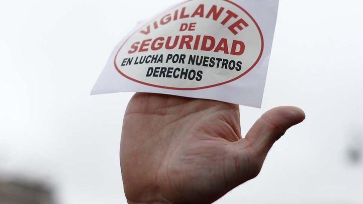 Protesta de los vigilantes de seguridad en una foto de archivo.