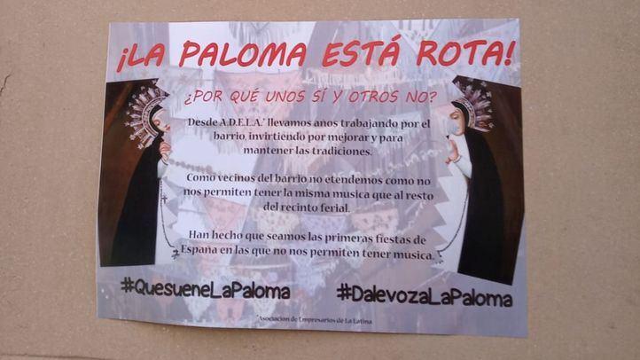 Cartel en La Latina que reza: 'La Paloma está rota'.