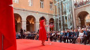 Isabel Díaz Ayuso pronuncia su discurso en su toma de posesión como presidenta de la Comunidad de Madrid.