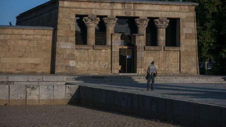 El Templo de Debod, sin agua a su alrededor desde hace meses.
