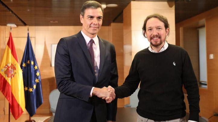 Pedro Sánchez y Pablo Iglesias, en un encuentro en el Congreso. Foto de archivo.
