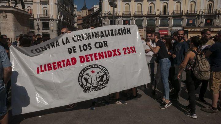 Concentración en la Puerta del Sol    de madrileños en apoyo a los últimos detenidos pertenecientes a los CDR.