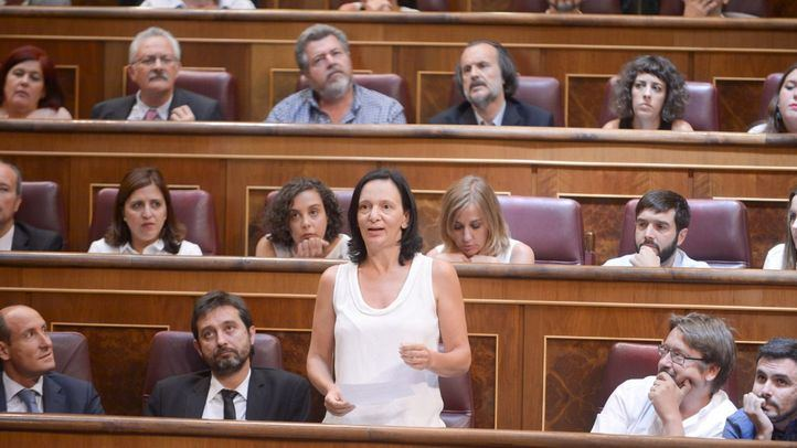 Carolina Bescansa, en su escaño en el hemiciclo del Congreso de los Diputados.