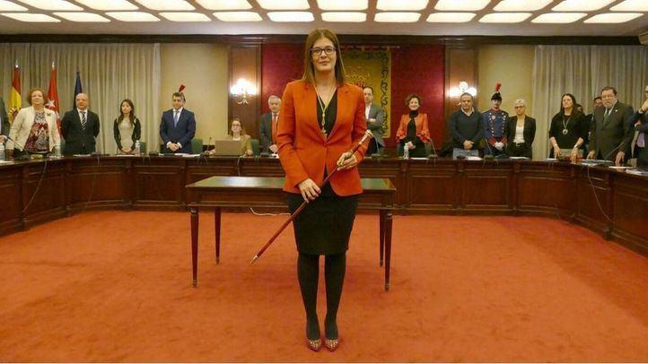 Noelia Posse durante su investidura como alcaldesa de Móstoles.