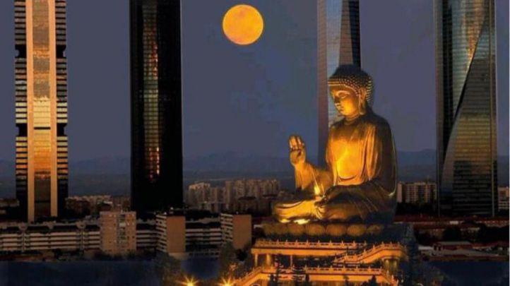 Recreación de la estatua del Buda de 40 metros que se iba a construir en Madrid.