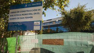 Obras de construcción de la nueva biblioteca de San Fermín.