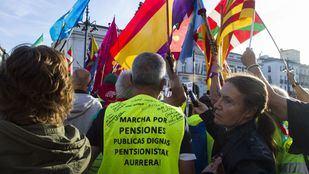 Los pensionistas, en la Puerta del Sol.