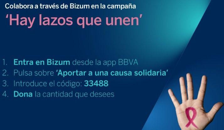 BBVA promueve la captación de fondos contra el cáncer de mama a través de Bizum