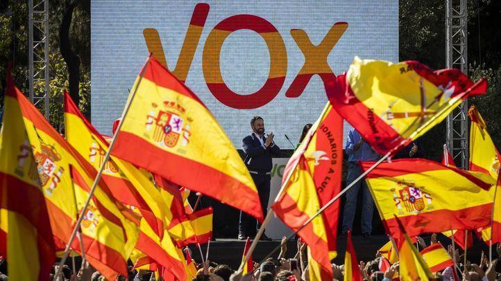 Santiago Abascal en la concentración de Vox