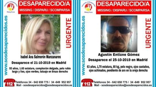 Isabel Ana Salmerón (55) y Agustín Entizne (63), desaparecidos en Madrid.