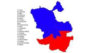 Mapa de los resultados del 10-N, por distritos.