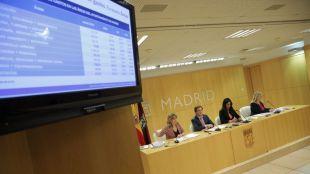 De izquierda a derecha, Engracia Hidalgo, edil de Hacienda; José Luis Martínez-Almeida, alcalde; Begoña Villacís, vicealcaldesa; e Inmaculada Sanz, portavoz, presentando los Presupuestos 2020.