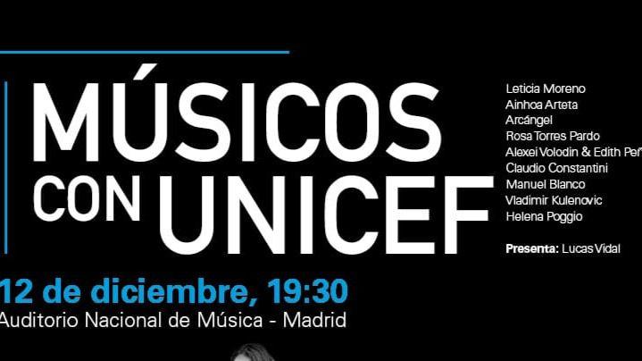 El Auditorio Nacional acoge el concierto 'Músicos con Unicef' el próximo 12 de diciembre