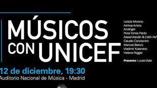 Cartel del próximo concierto 'Músicos con Unicef'