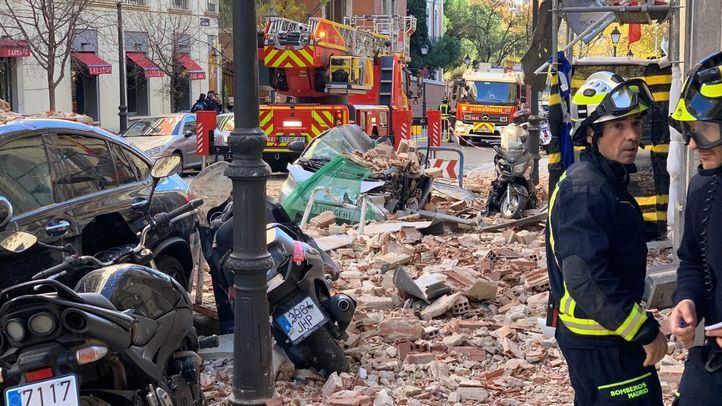 Cae una cornisa de un edificio en obras de Chamberí