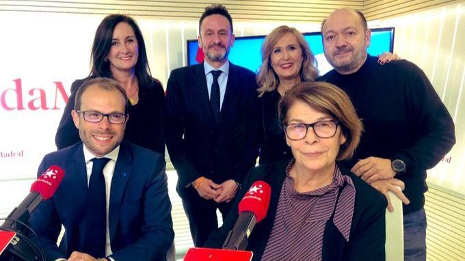 Asistentes del debate político de Com.permiso: Daniel Viondi (PSOE), Inés Sabanés (Más País), Edurne Uriarte (PP) y Edmundo Bal (Ciudadanos)