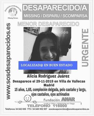 Imagen distribuida por SOS Desaparecidos sobre la aparición de la joven.