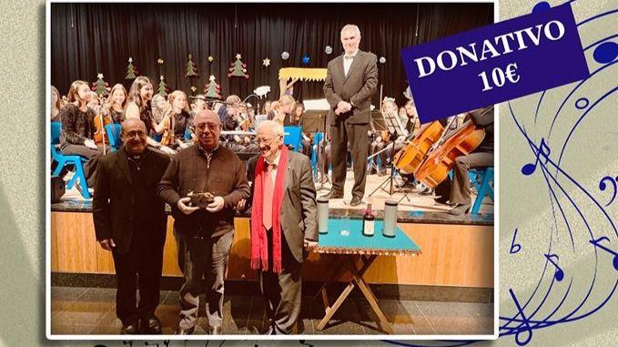 Cartel del concierto solidario de Mensajeros de la Paz y la Joven Orquesta Sinfónica del Conservatorio de Arturo Soria