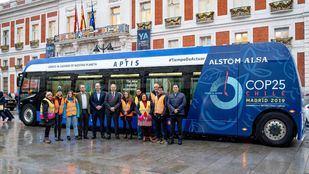 Autobuses eléctricos cero emisiones operados por Alsa para el traslado de los voluntarios durante la Cumbre del Clima.