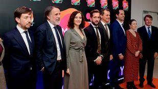 La presidenta de la Comunidad, Isabel Díaz Ayuso, en la presentación de Madrid Content City, donde coincidió con el ministro de Ciencia, Pedro Duque.