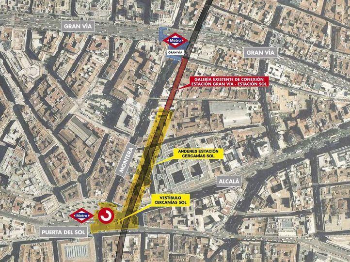 Obras de modernización en la estación de Metro de Gran Vía y de la creación de una vía subterránea.
