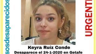 Adolescente desaparecida en Getafe