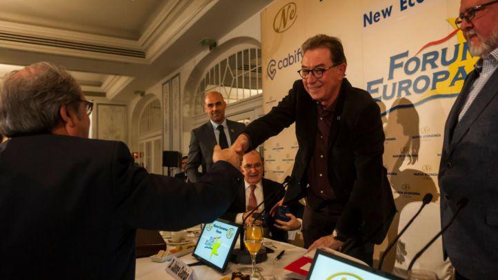 Los secretarios generales de CCOO y UGT de Madrid, Jaime Cedrún y Luis Miguel López Reillo, en un desayuno informativo del Fórum Europa.