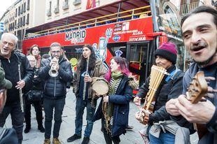 Los músicos callejeros de la capital, en la concentración de este miércoles