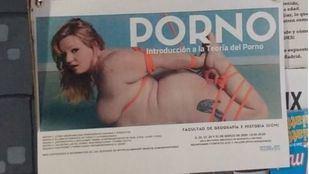 Fotografía del cartel publicitario del seminario 'Una introducción a la Teoría del porno'