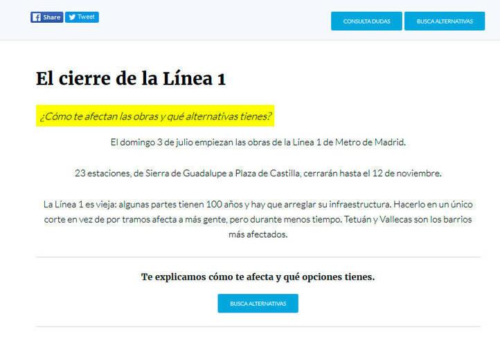 Una web 'open data' para hacer más fácil la movilidad durante el cierre de la Línea 1