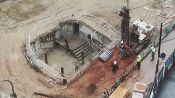 Restos arqueológicos encontrados en las excavaciones de la estación de Gran Vía