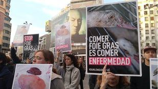 Manifestación en Callao contra la fabricación y consumo de foie gras