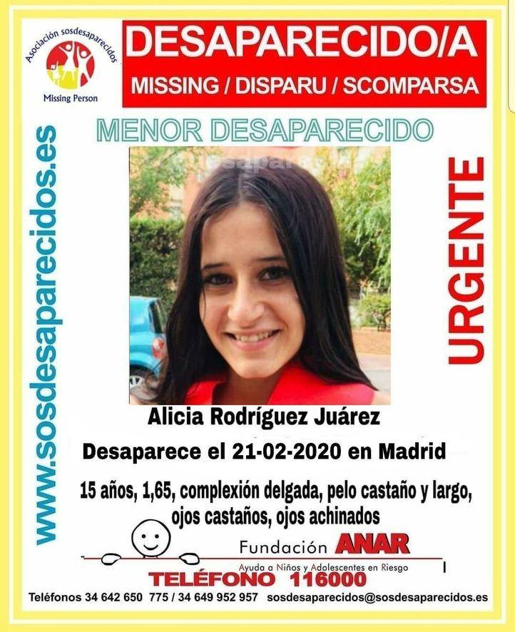 Adolescente de 15 años desaparecida en Puente de Vallecas