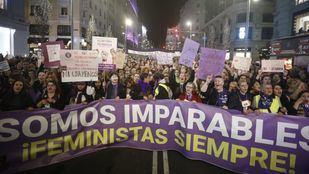 Cabecera de la manifestación del 8-M en conmemoración con el Día de la Mujer.
