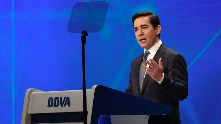 El presidente de BBVA, Carlos Torres Vila, en la Junta General de Accionistas.
