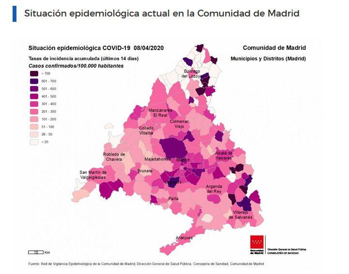 La Comunidad diseña un mapa interactivo de información epidemiológica COVID-19 por municipios