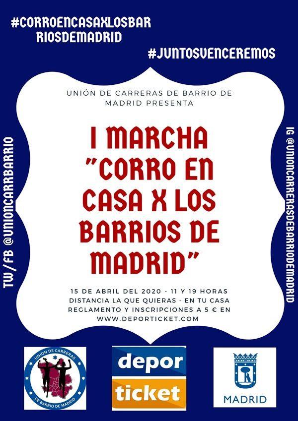 Cartel de la I Marcha 'Corro en casa x por los barrios de Madrid'