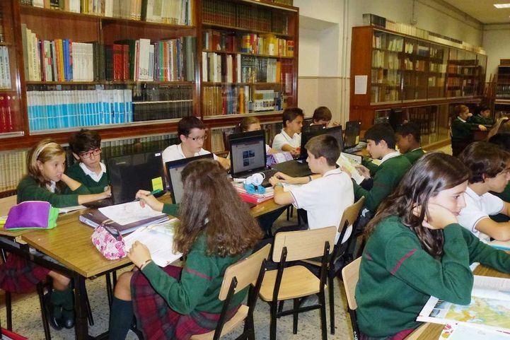 Alumnos en el colegio La Inmaculada de Getafe de la Asociación de Escuelas Católicas.