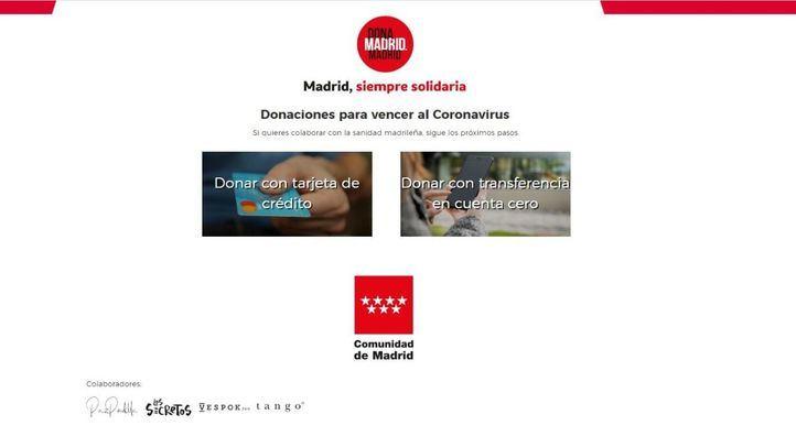 La web de donaciones de la Comunidad alcanza casi 18 millones de euros