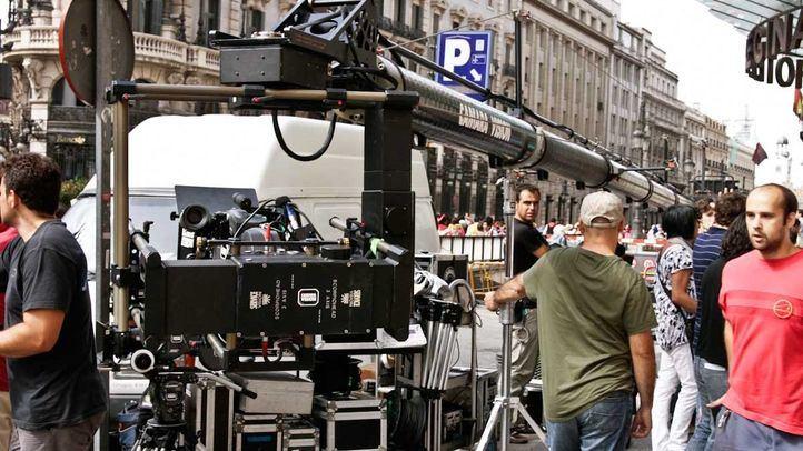 Rodaje cinematográfico en las calles de Madrid.