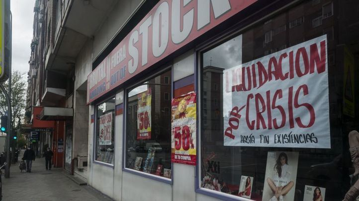 Comercio en Madrid que anuncia 'liquidación por crisis'