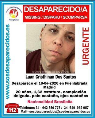 Buscan a un joven de 20 años desaparecido en Fuenlabrada