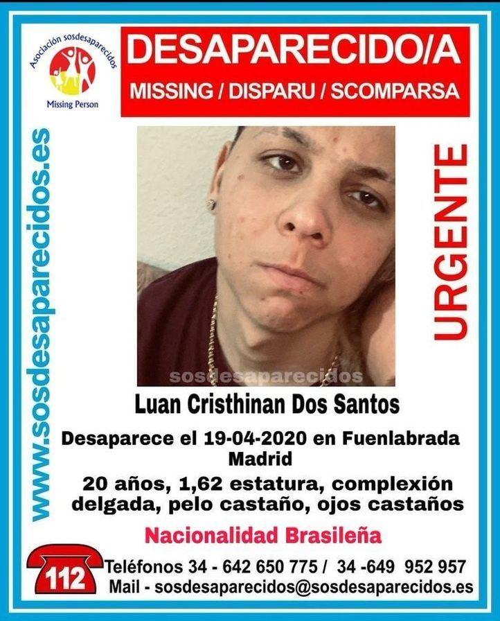 Buscan a un joven de 20 años desaparecido desde hace nueve días en Fuenlabrada