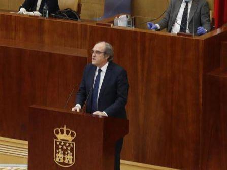 Ángel Gabilondo, durante el debate especial en la Asamblea de Madrid por la crisis del Covid-19