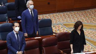 Isabel Díaz Ayuso e Ignacio Aguado durante el Pleno especial de la Asamblea por la crisis sanitaria del Covid-19