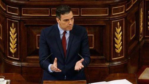 Pedro Sánchez en el Congreso de los Diputados durante la quinta prórroga del estado de alarma.