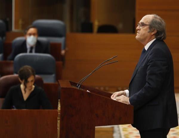 Ángel Gabilondo durante el debate especial en la Asamblea de Madrid por la crisis del Covid-19