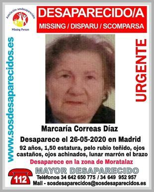 Cartel de la asociación SOS Desaparecidos, con detalles identificativos de la mujer.